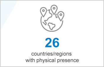 27 countries / regions with physical presence